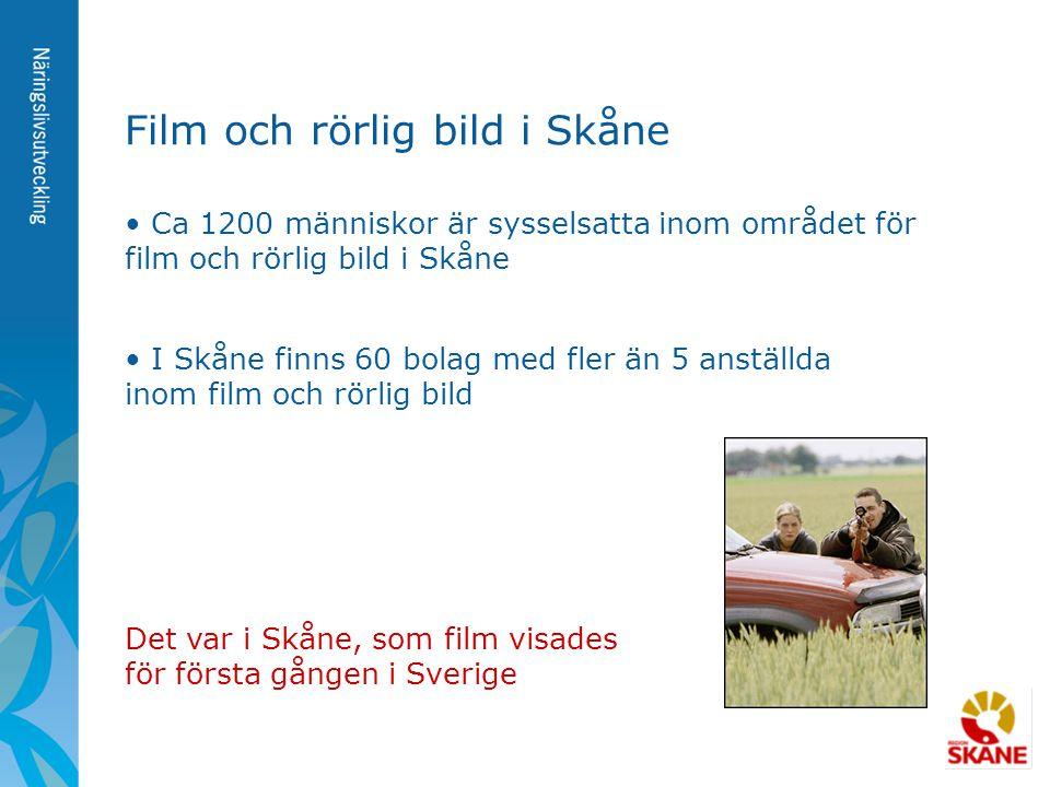 • Ca 1200 människor är sysselsatta inom området för film och rörlig bild i Skåne Film och rörlig bild i Skåne • I Skåne finns 60 bolag med fler än 5 a