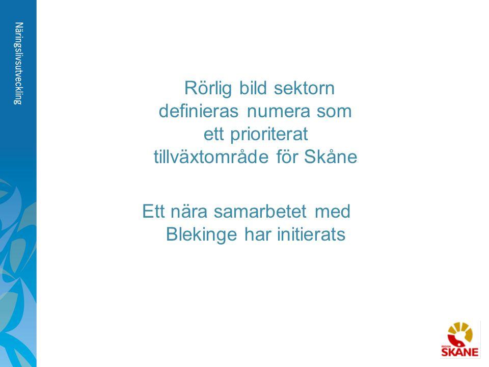 Rörlig bild sektorn definieras numera som ett prioriterat tillväxtområde för Skåne Ett nära samarbetet med Blekinge har initierats