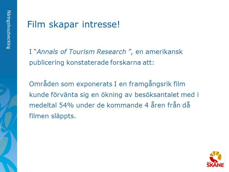 """Film skapar intresse! I """"Annals of Tourism Research """", en amerikansk publicering konstaterade forskarna att: Områden som exponerats I en framgångsrik"""