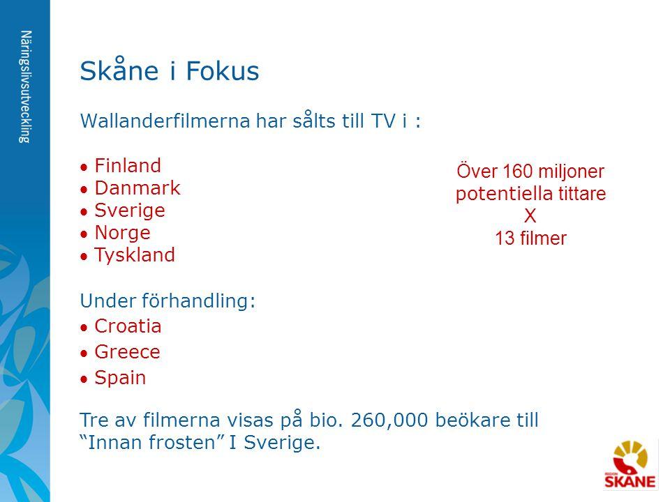 Skåne i Fokus Wallanderfilmerna har sålts till TV i :  Finland  Danmark  Sverige  Norge  Tyskland Under förhandling:  Croatia  Greece  Spain T