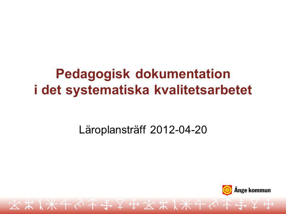 Pedagogisk dokumentation i det systematiska kvalitetsarbetet Läroplansträff 2012-04-20