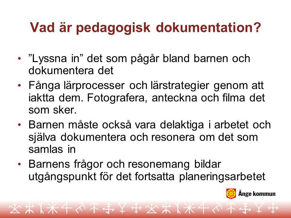 """Vad är pedagogisk dokumentation? • """"Lyssna in"""" det som pågår bland barnen och dokumentera det • Fånga lärprocesser och lärstrategier genom att iaktta"""