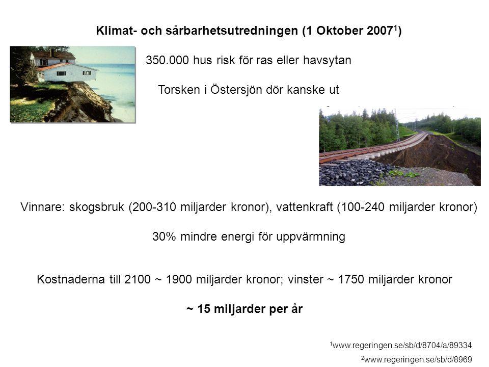 Klimat- och sårbarhetsutredningen (1 Oktober 2007 1 ) 350.000 hus risk för ras eller havsytan Torsken i Östersjön dör kanske ut Vinnare: skogsbruk (20