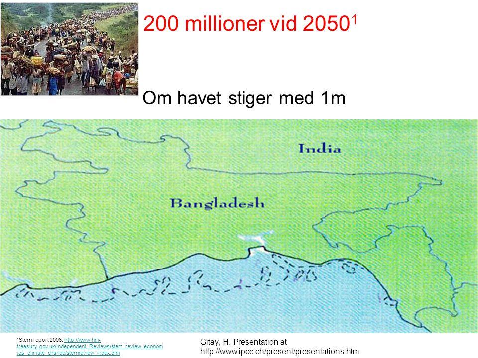Om havet stiger med 1m projected Gitay, H. Presentation at http://www.ipcc.ch/present/presentations.htm 200 millioner vid 2050 1 1 Stern report 2006: