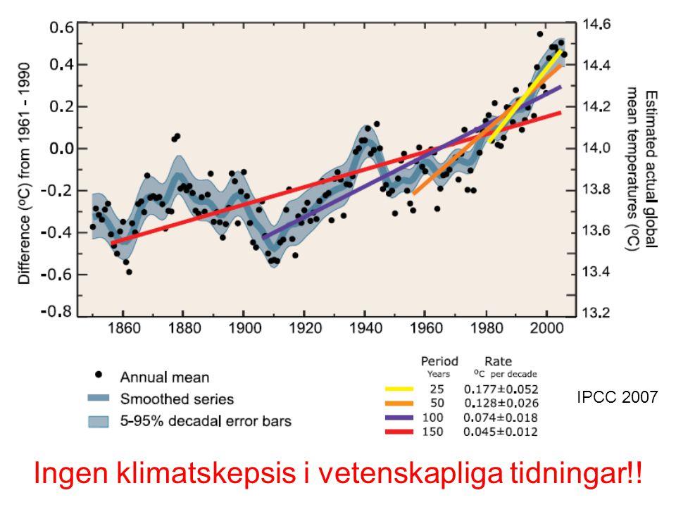 Skogen växer bättre +10-30% vid 2050.•Längre växtperiod •Mer kvävemineralisering Eriksson et al.
