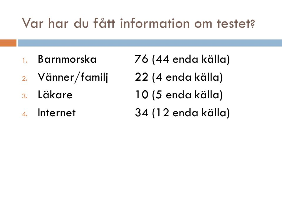 Var har du fått information om testet .1. Barnmorska76 (44 enda källa) 2.