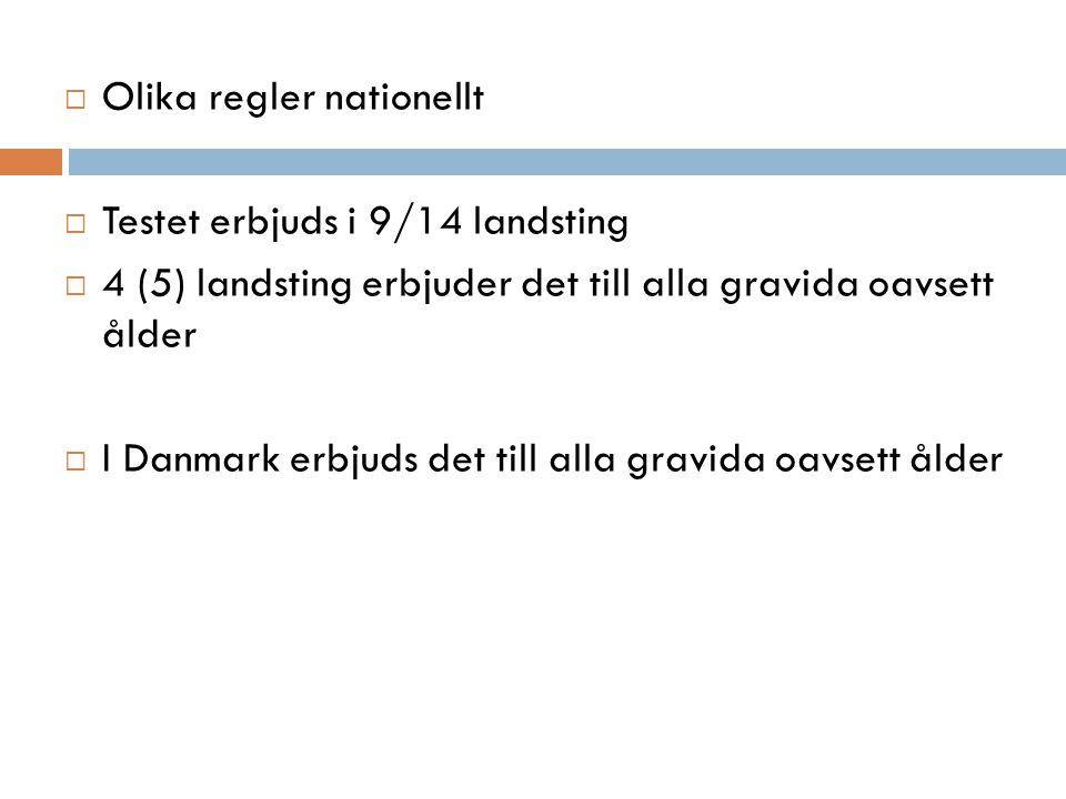  Olika regler nationellt  Testet erbjuds i 9/14 landsting  4 (5) landsting erbjuder det till alla gravida oavsett ålder  I Danmark erbjuds det till alla gravida oavsett ålder