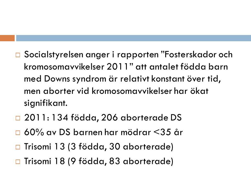  Socialstyrelsen anger i rapporten Fosterskador och kromosomavvikelser 2011 att antalet födda barn med Downs syndrom är relativt konstant över tid, men aborter vid kromosomavvikelser har ökat signifikant.