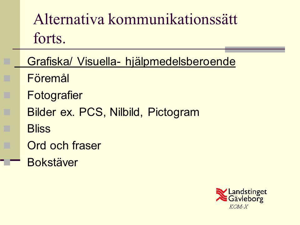 Alternativa kommunikationssätt forts.  Grafiska/ Visuella- hjälpmedelsberoende  Föremål  Fotografier  Bilder ex. PCS, Nilbild, Pictogram  Bliss 