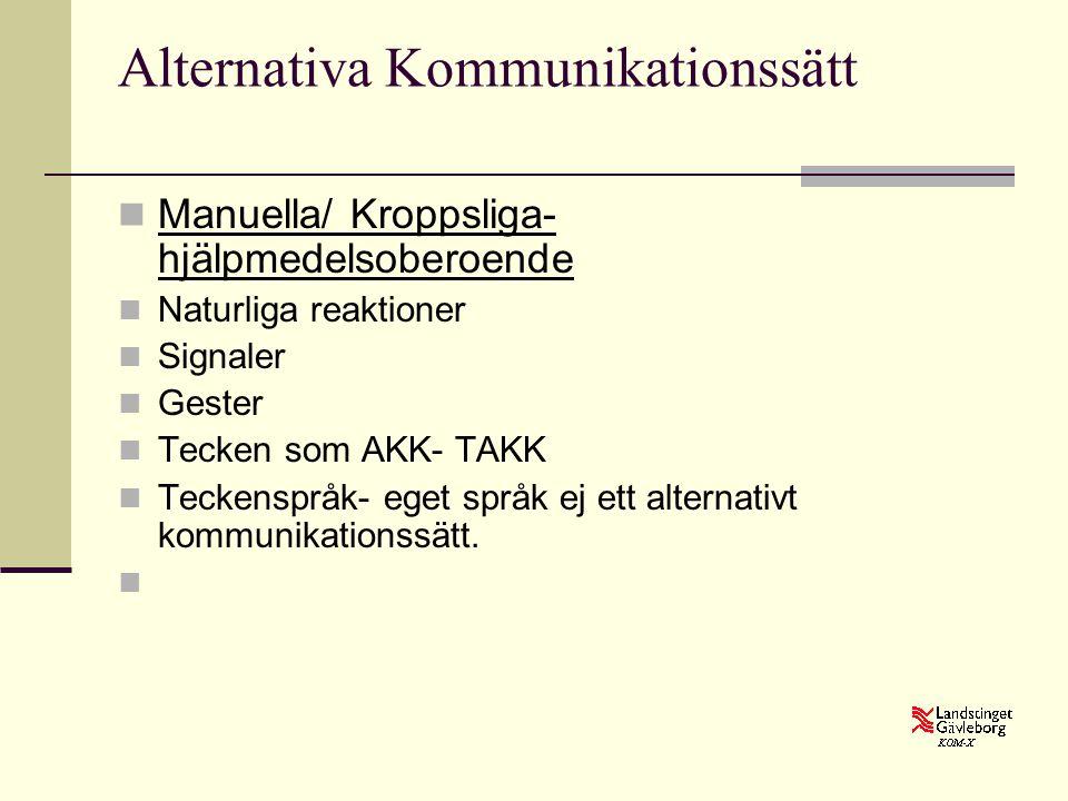 Alternativa Kommunikationssätt  Manuella/ Kroppsliga- hjälpmedelsoberoende  Naturliga reaktioner  Signaler  Gester  Tecken som AKK- TAKK  Tecken