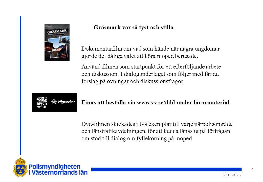 7 2010-03-17 Gräsmark var så tyst och stilla Dokumentärfilm om vad som hände när några ungdomar gjorde det dåliga valet att köra moped berusade. Använ
