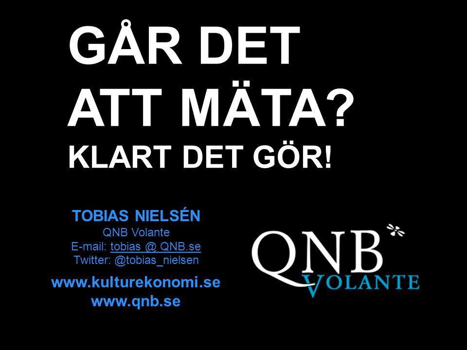 KULTUREKONOMI.se TOBIAS NIELSÉN QNB Volante E-mail: tobias @ QNB.se Twitter: @tobias_nielsen www.kulturekonomi.se www.qnb.se GÅR DET ATT MÄTA? KLART D