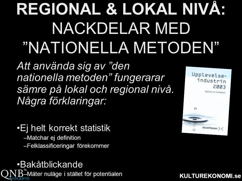 """KULTUREKONOMI.se REGIONAL & LOKAL NIVÅ: NACKDELAR MED """"NATIONELLA METODEN"""" Att använda sig av """"den nationella metoden"""" fungerarar sämre på lokal och r"""