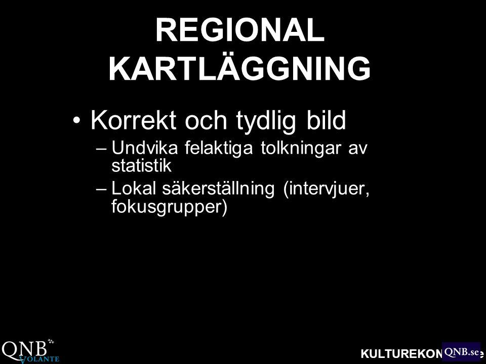 KULTUREKONOMI.se REGIONAL KARTLÄGGNING •Korrekt och tydlig bild –Undvika felaktiga tolkningar av statistik –Lokal säkerställning (intervjuer, fokusgru