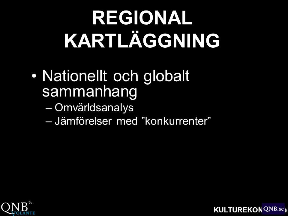 """KULTUREKONOMI.se REGIONAL KARTLÄGGNING •Nationellt och globalt sammanhang –Omvärldsanalys –Jämförelser med """"konkurrenter"""""""