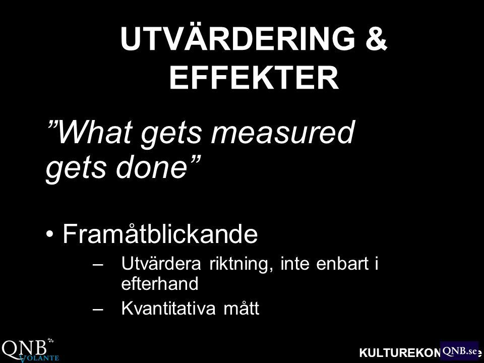 """KULTUREKONOMI.se UTVÄRDERING & EFFEKTER """"What gets measured gets done"""" • Framåtblickande –Utvärdera riktning, inte enbart i efterhand –Kvantitativa må"""