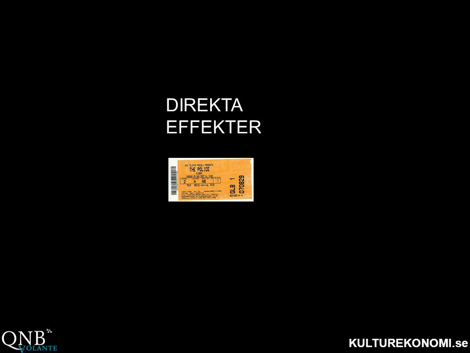 KULTUREKONOMI.se DIREKTA EFFEKTER