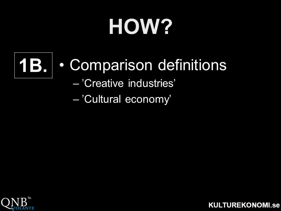 KULTUREKONOMI.se HOW? •Comparison definitions –'Creative industries' –'Cultural economy' 1B.