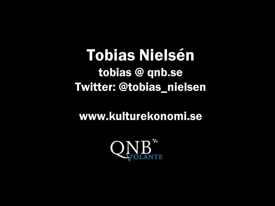 KULTUREKONOMI.se Tobias Nielsén tobias @ qnb.se Twitter: @tobias_nielsen www.kulturekonomi.se