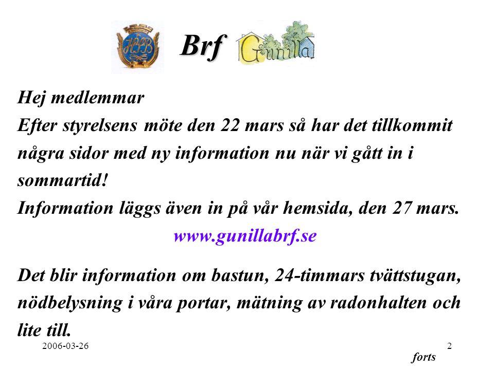 2006-03-263 Därutöver kan nämnas att styrelsen diskuterar Hus/Gårdsvärdar, omläggning av tak och byte av stuprör och iordningställande av portalerna.