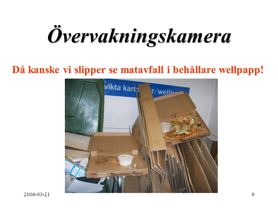 2006-03-219 Övervakningskamera Då kanske vi slipper se matavfall i behållare wellpapp!