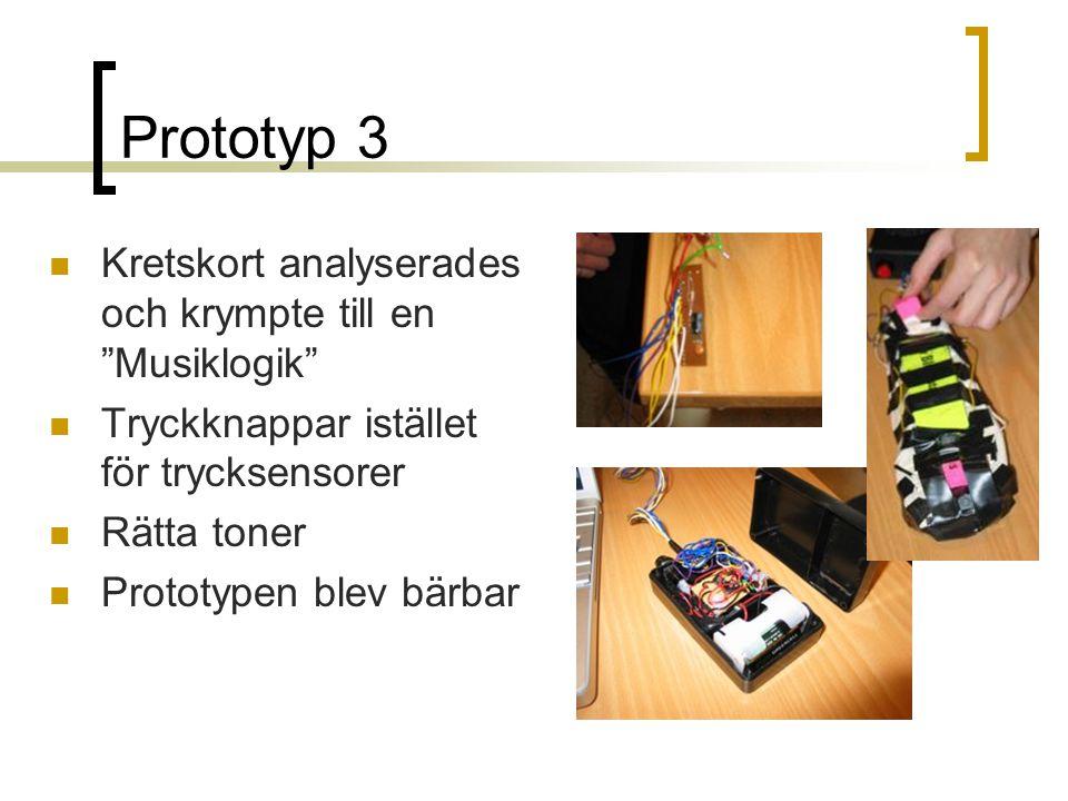 Prototyp 3  Kretskort analyserades och krympte till en Musiklogik  Tryckknappar istället för trycksensorer  Rätta toner  Prototypen blev bärbar