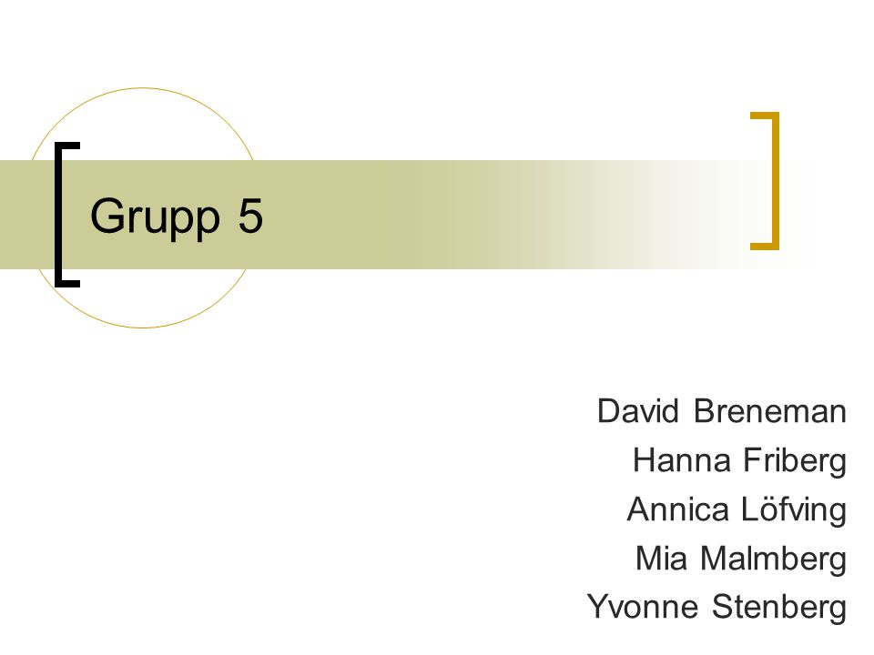Grupp 5 David Breneman Hanna Friberg Annica Löfving Mia Malmberg Yvonne Stenberg