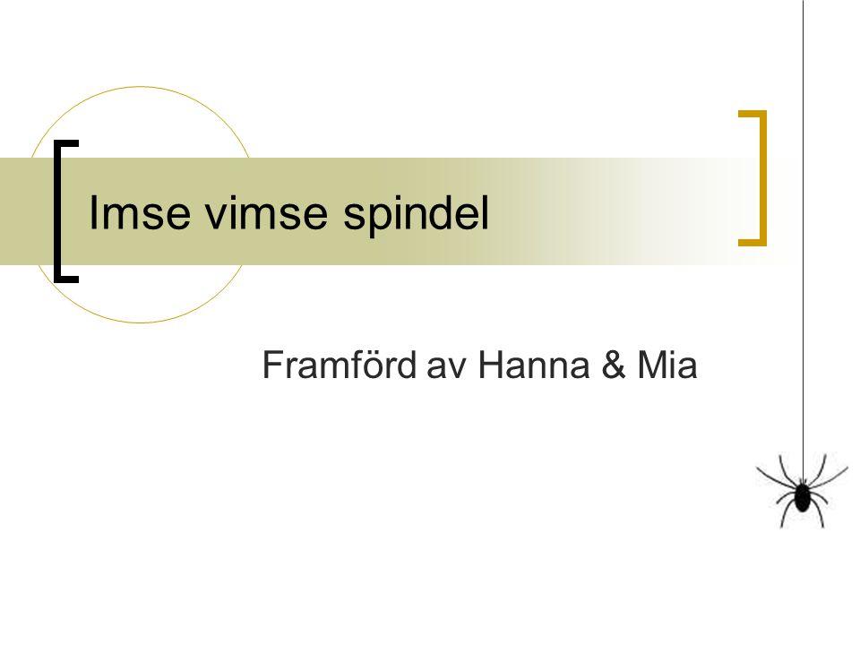 Imse vimse spindel Framförd av Hanna & Mia