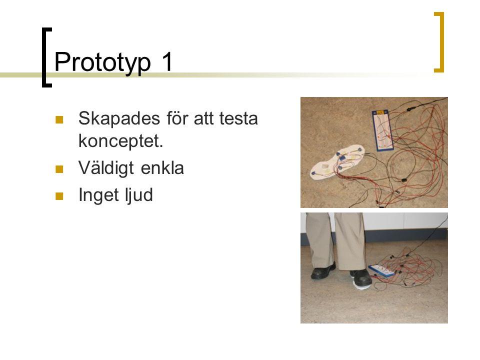 Prototyp 1  Skapades för att testa konceptet.  Väldigt enkla  Inget ljud