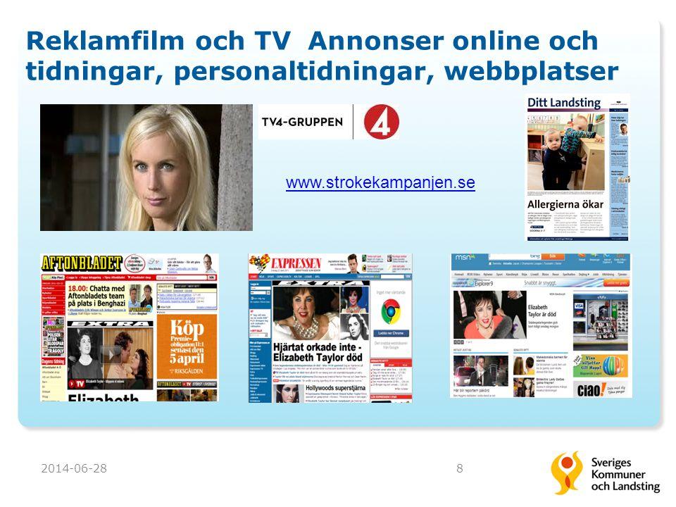 Reklamfilm och TV Annonser online och tidningar, personaltidningar, webbplatser 2014-06-288 www.strokekampanjen.se