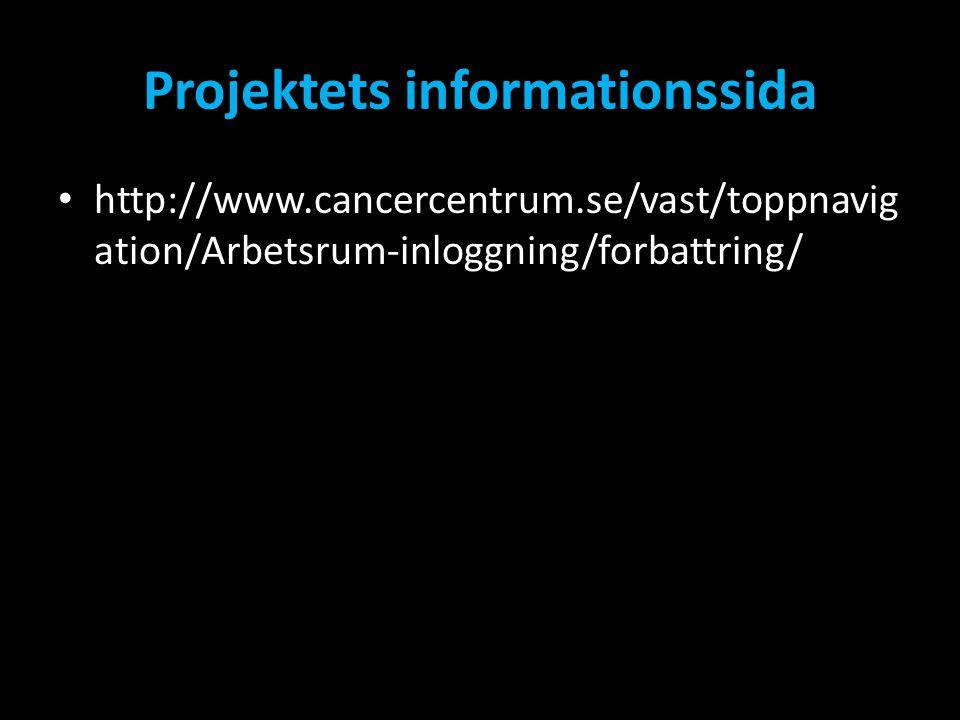 Projektets informationssida • http://www.cancercentrum.se/vast/toppnavig ation/Arbetsrum-inloggning/forbattring/