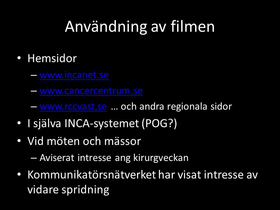 Användning av filmen • Hemsidor – www.incanet.se www.incanet.se – www.cancercentrum.se www.cancercentrum.se – www.rccvast.se … och andra regionala sid
