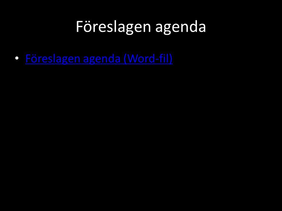 Fastställande av dagordning • Ändringar i förhållande till förslag:Föreslagen agenda (Word-fil)Föreslagen agenda (Word-fil) • Övriga frågor