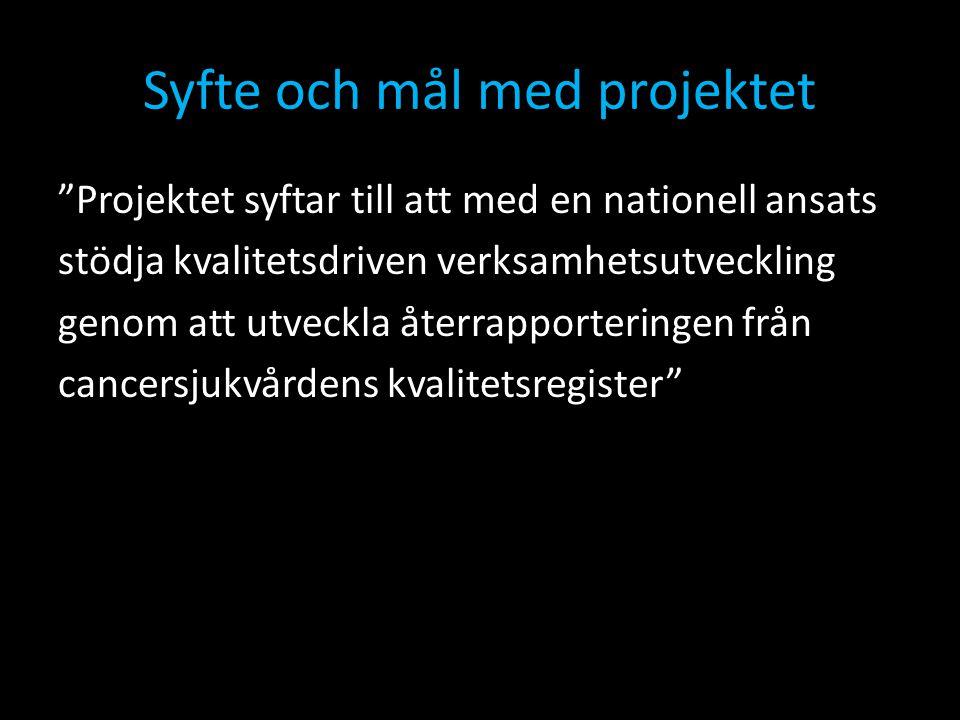 """Syfte och mål med projektet """"Projektet syftar till att med en nationell ansats stödja kvalitetsdriven verksamhetsutveckling genom att utveckla återrap"""
