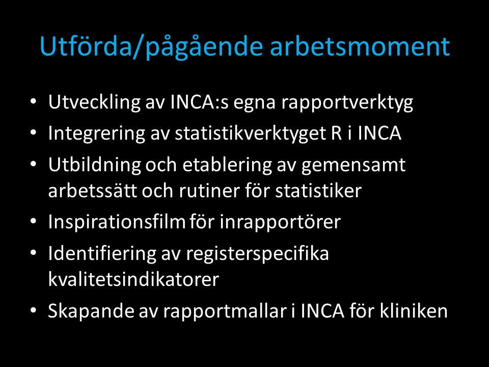 Utförda/pågående arbetsmoment • Utveckling av INCA:s egna rapportverktyg • Integrering av statistikverktyget R i INCA • Utbildning och etablering av g