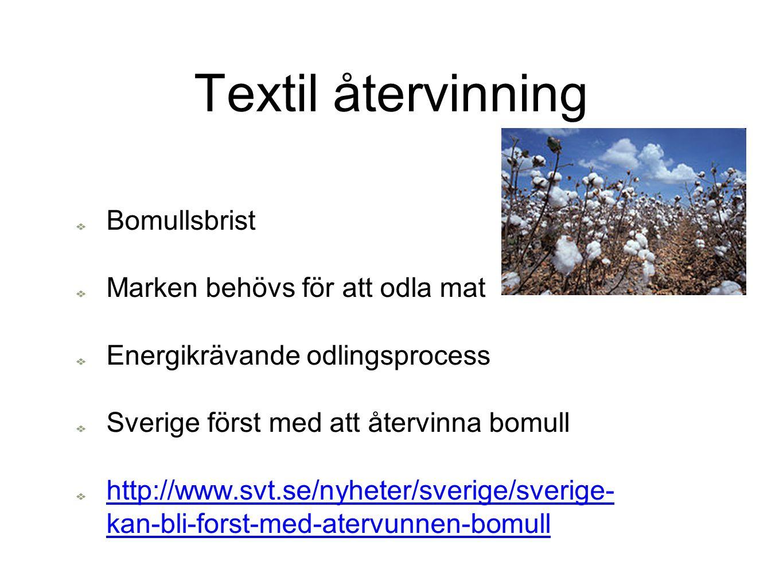 Textil återvinning Bomullsbrist Marken behövs för att odla mat Energikrävande odlingsprocess Sverige först med att återvinna bomull http://www.svt.se/