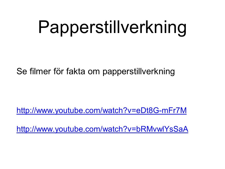 Papperstillverkning Se filmer för fakta om papperstillverkning http://www.youtube.com/watch?v=eDt8G-mFr7M http://www.youtube.com/watch?v=bRMvwlYsSaA
