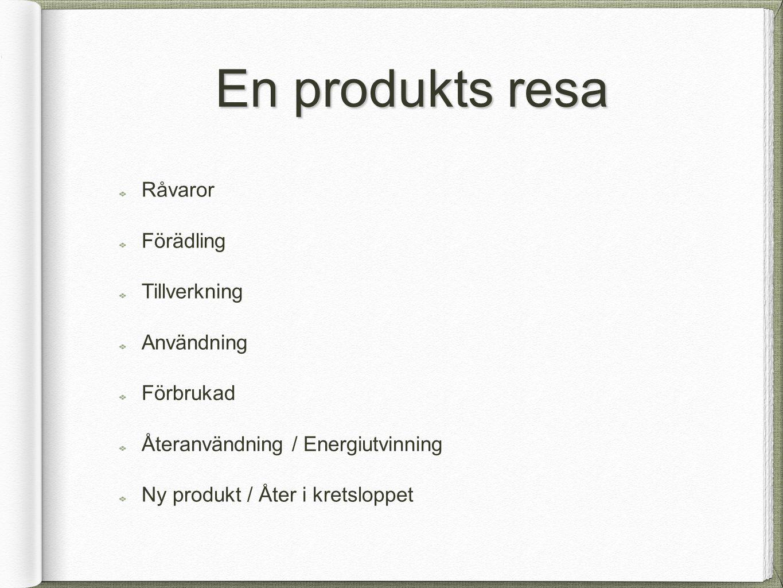En produkts resa Råvaror Förädling Tillverkning Användning Förbrukad Återanvändning / Energiutvinning Ny produkt / Åter i kretsloppet