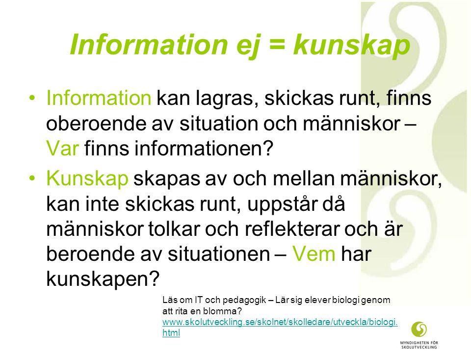 Information ej = kunskap •Information kan lagras, skickas runt, finns oberoende av situation och människor – Var finns informationen.