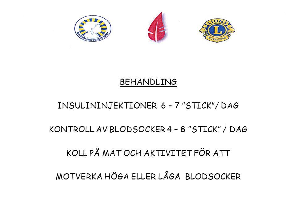 BEHANDLING INSULININJEKTIONER 6 – 7 STICK / DAG KONTROLL AV BLODSOCKER 4 – 8 STICK / DAG KOLL PÅ MAT OCH AKTIVITET FÖR ATT MOTVERKA HÖGA ELLER LÅGA BLODSOCKER