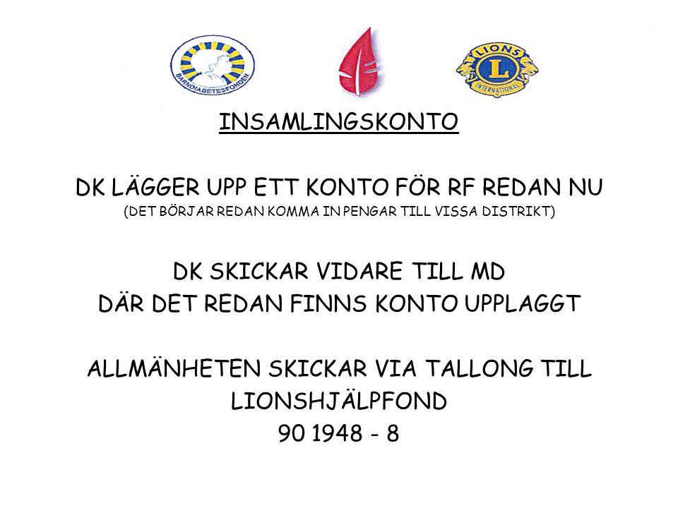 INSAMLINGSKONTO DK LÄGGER UPP ETT KONTO FÖR RF REDAN NU (DET BÖRJAR REDAN KOMMA IN PENGAR TILL VISSA DISTRIKT) DK SKICKAR VIDARE TILL MD DÄR DET REDAN FINNS KONTO UPPLAGGT ALLMÄNHETEN SKICKAR VIA TALLONG TILL LIONSHJÄLPFOND 90 1948 - 8