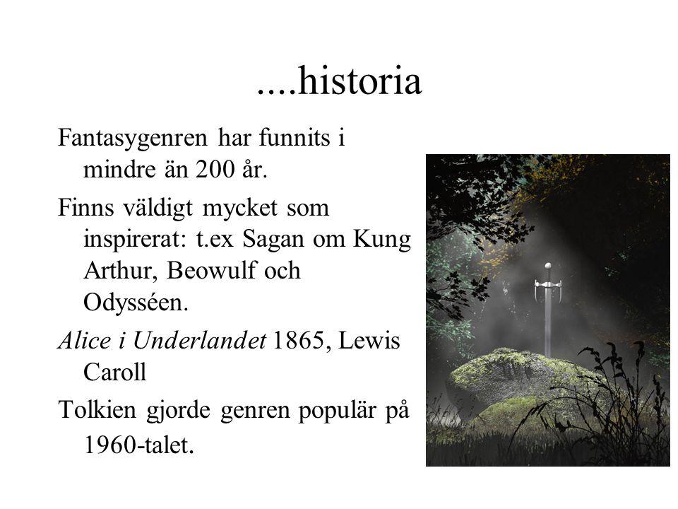 ....historia Fantasygenren har funnits i mindre än 200 år. Finns väldigt mycket som inspirerat: t.ex Sagan om Kung Arthur, Beowulf och Odysséen. Alice