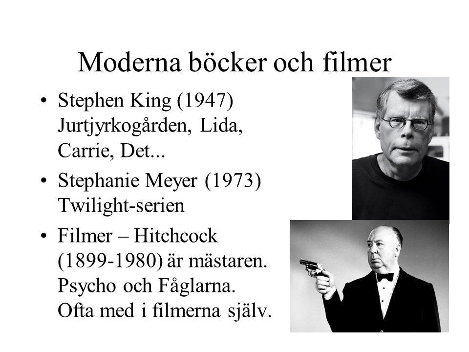 Moderna böcker och filmer •Stephen King (1947) Jurtjyrkogården, Lida, Carrie, Det... •Stephanie Meyer (1973) Twilight-serien •Filmer – Hitchcock (1899