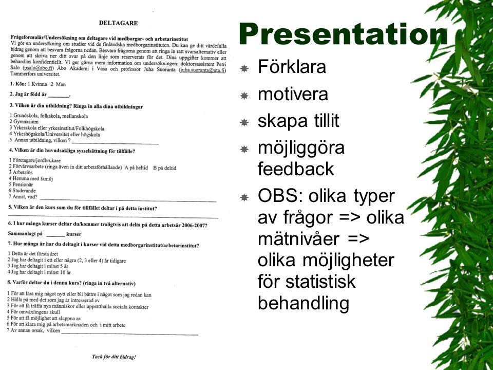 Presentation  Förklara  motivera  skapa tillit  möjliggöra feedback  OBS: olika typer av frågor => olika mätnivåer => olika möjligheter för stati