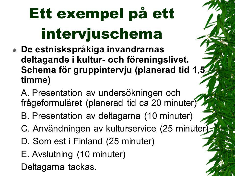 Ett exempel på ett intervjuschema  De estniskspråkiga invandrarnas deltagande i kultur- och föreningslivet. Schema för gruppintervju (planerad tid 1,