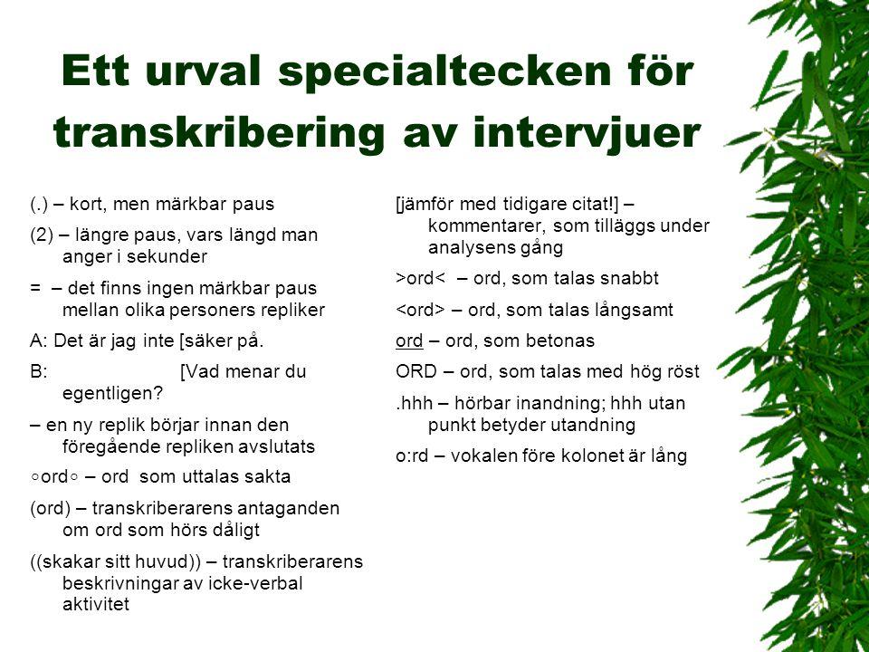 Ett urval specialtecken för transkribering av intervjuer (.) – kort, men märkbar paus (2) – längre paus, vars längd man anger i sekunder = – det finns