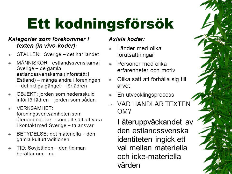 Ett kodningsförsök Kategorier som förekommer i texten (in vivo-koder):  STÄLLEN: Sverige – det här landet  MÄNNISKOR: estlandssvenskarna i Sverige –