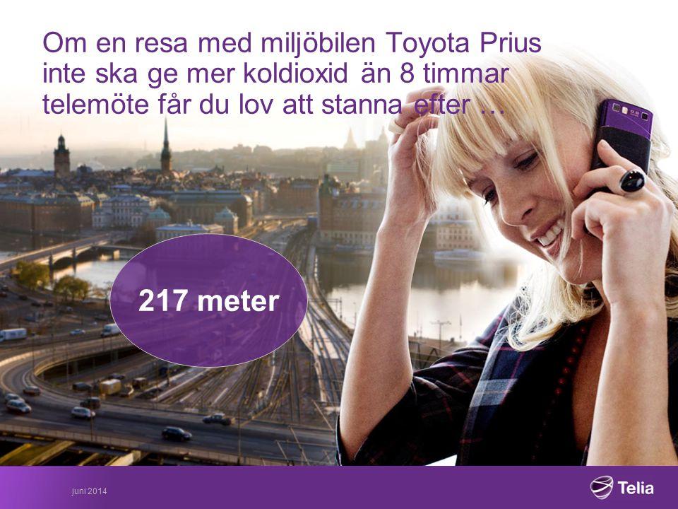 Om en resa med miljöbilen Toyota Prius inte ska ge mer koldioxid än 8 timmar telemöte får du lov att stanna efter … 217 meter juni 2014