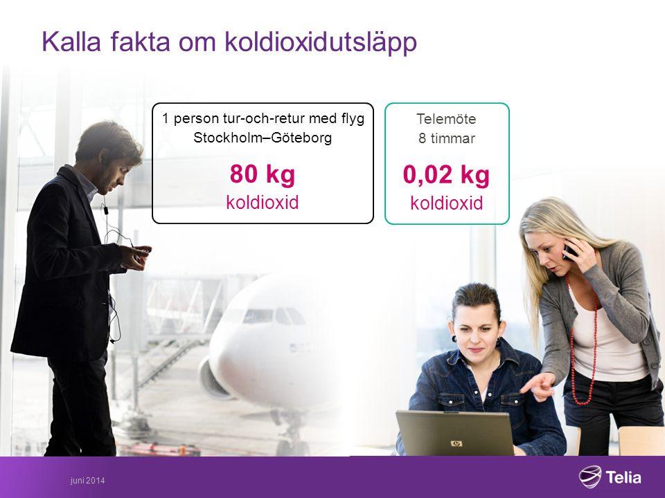 Kalla fakta om koldioxidutsläpp 1 person tur-och-retur med flyg Stockholm–Göteborg 80 kg koldioxid Telemöte 8 timmar 0,02 kg koldioxid juni 2014