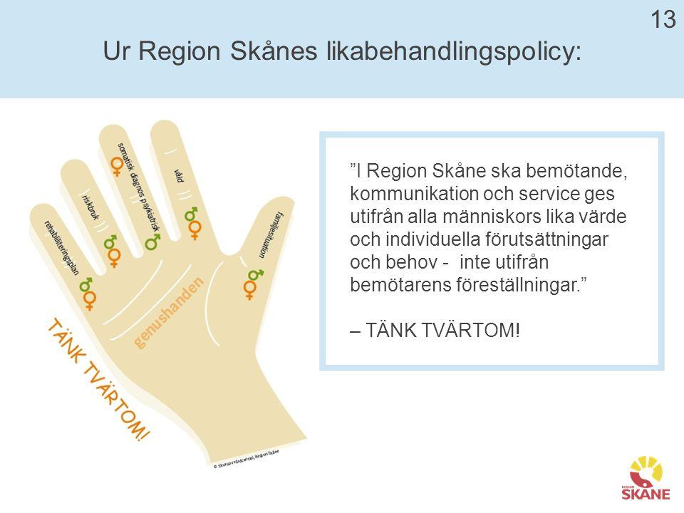 Ur Region Skånes likabehandlingspolicy: I Region Skåne ska bemötande, kommunikation och service ges utifrån alla människors lika värde och individuella förutsättningar och behov - inte utifrån bemötarens föreställningar. – TÄNK TVÄRTOM.